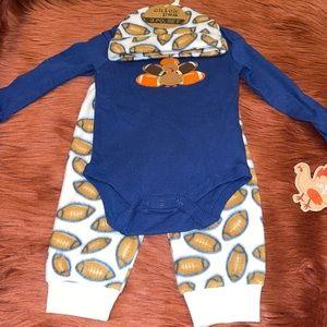 NEW Baby Boy Thanksgiving Football Matching Set 6-9 Months!